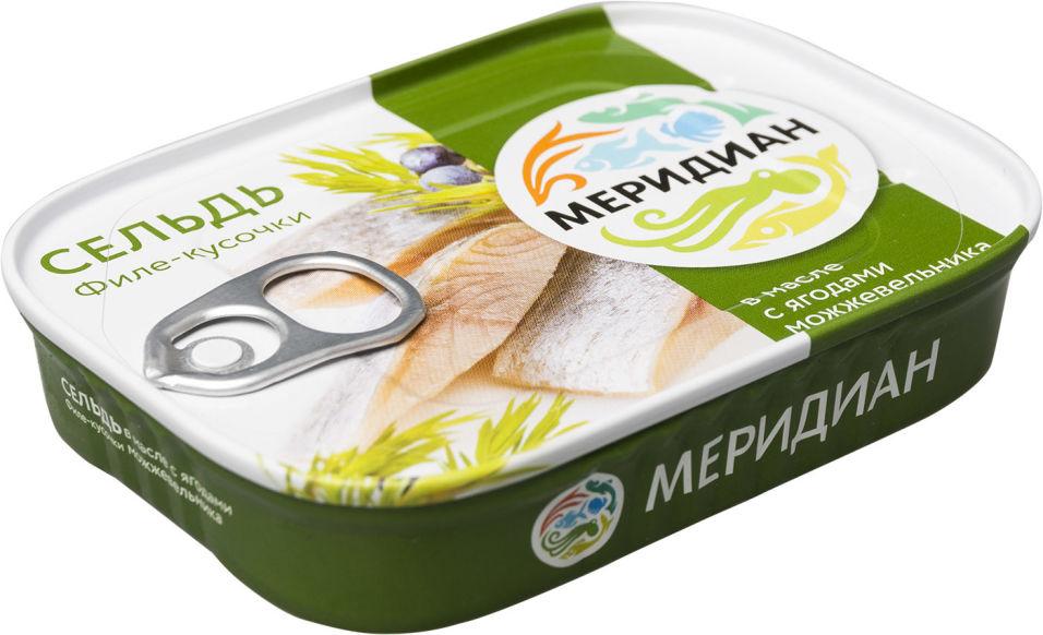 Сельдь Меридиан филе-кусочки в масле с можжевельником 115г