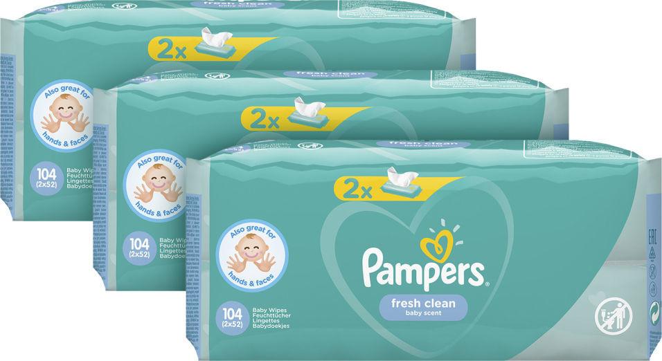 Салфетки влажные Pampers Fresh Clean детские 104шт (упаковка 3 шт.)