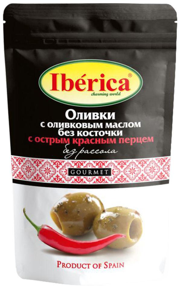 Оливки Iberica с оливковым маслом и острым красным перцем 70г