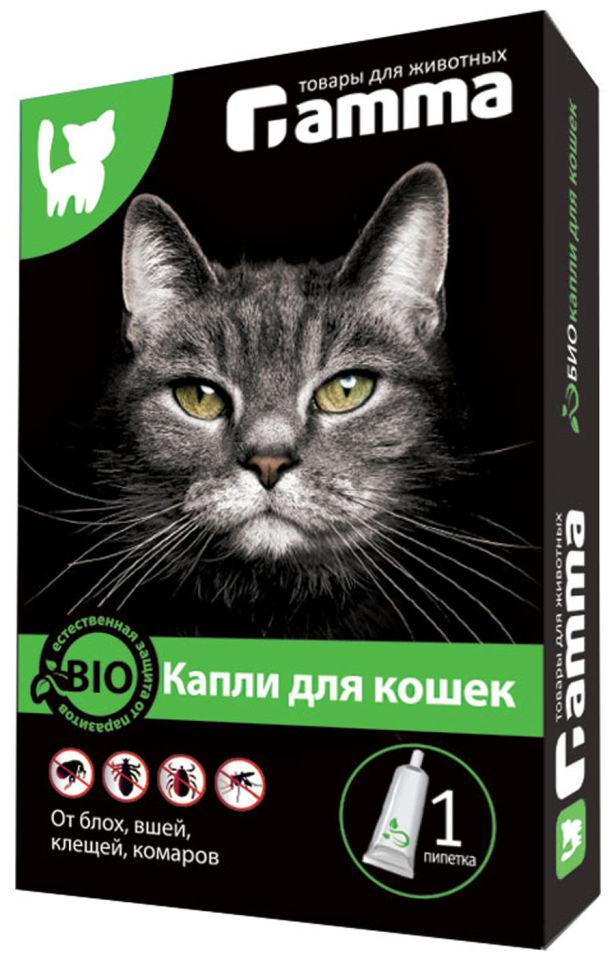 Капли для кошек Gamma от паразитов 1 пипетка 1мл