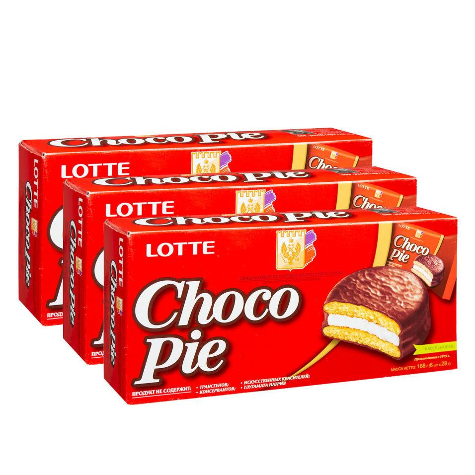 Печенье Lotte Choco Pie в глазури 6шт*28г (упаковка 3 шт.)