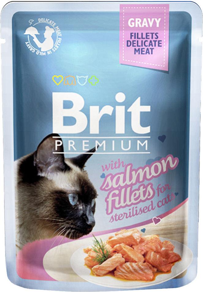Корм для кошек Brit Premium Кусочки филе лосося в соусе 85г