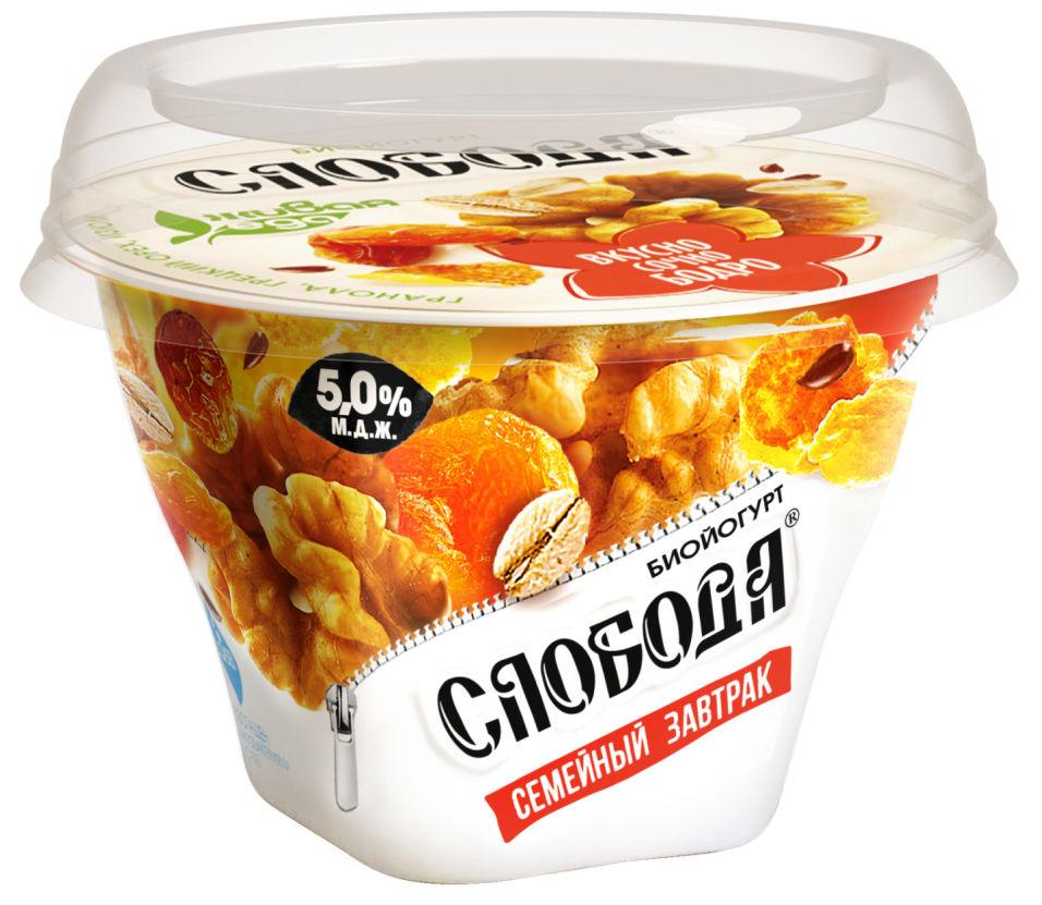 Отзывы о Биойогурте Слобода Семейный завтрак с Гранолой Грецким орехом и Изюмом 5% 170г