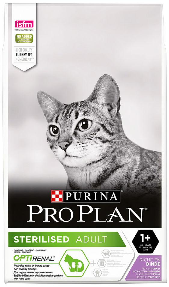 Сухой корм для стерилизованных кошек Pro Plan Optirenal Sterilised с индейкой 10кг