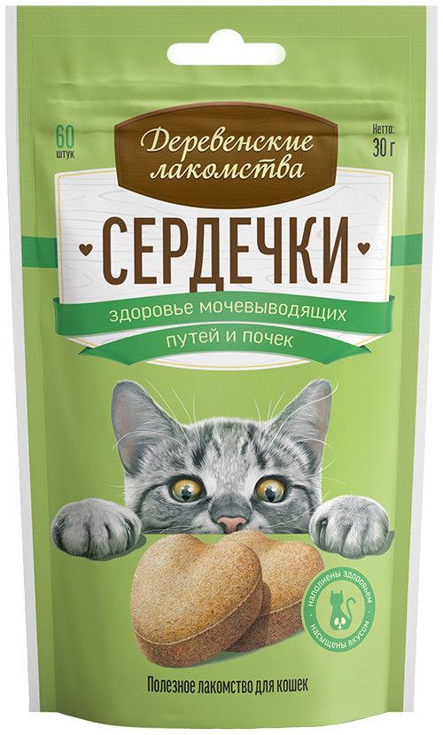 Лакомство для кошек Деревенские лакомства Сердечки для здоровья мочевыводящих путей и почек 30г
