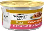 Корм для кошек Gourmet Gold Кусочки с форелью и овощами в подливе 85г