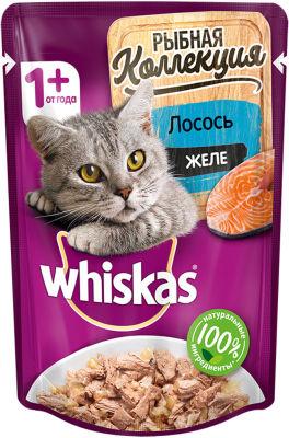 Корм для кошек Whiskas Рыбная коллекция Желе с лососем 85г