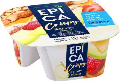 Йогурт Epica Crispy с Яблоком и смесь из мюсли миндаля сушеных яблок и клубники 4.8% 138г