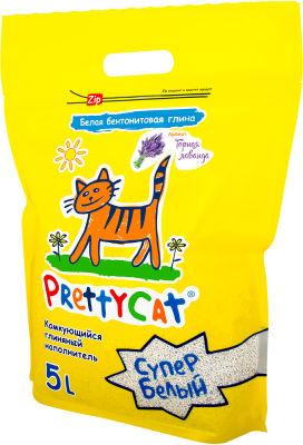 Наполнитель для кошачьего туалета PrettyCat Супер белый комкующийся Лаванда 5л