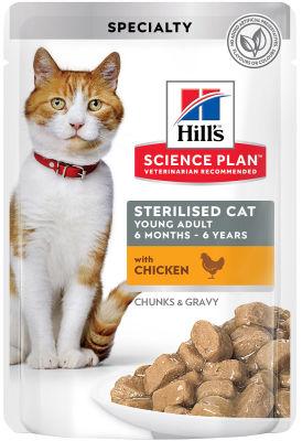 Влажный корм для стерилизованных кошек и кастрированных котов Hills Science Plan Sterilised Cat с курицей 85г