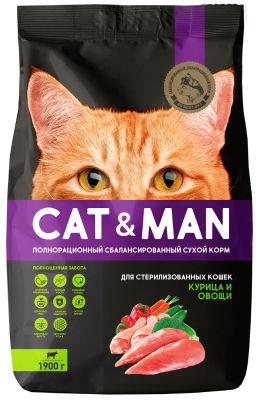 Сухой корм для кошек Cat&Man для стерилизованных кошек с курицей и овощами 1.9кг