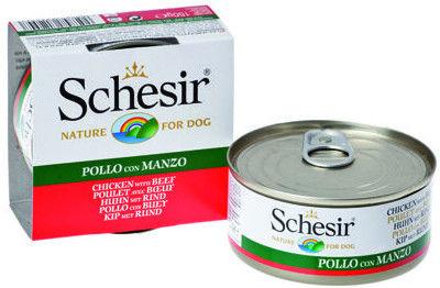 Корм для собак Schesir Филе цыпленка и говядина 150г