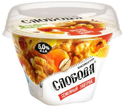Биойогурт Слобода Семейный завтрак с Гранолой Грецким орехом и Изюмом 5% 170г