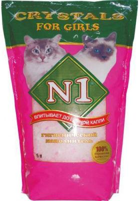 Наполнитель для кошачьего туалета Наполнитель №1 For Girls силикагелевый розовый 5л