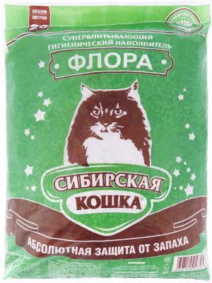 Наполнитель для кошачьего туалета Сибирская кошка Флора древесный 20л