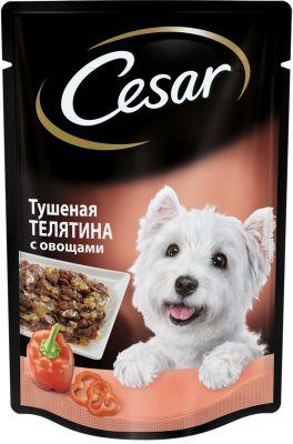 Корм для собак Cesar тушеная телятина с овощами в желе 85г