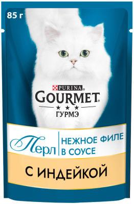 Корм для кошек Gourmet Perle Мини-филе с индейкой в соусе 85г