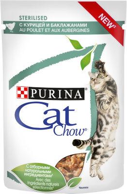 Корм для кошек Cat Chow Sterilised Курица и Баклажан в соусе 85г