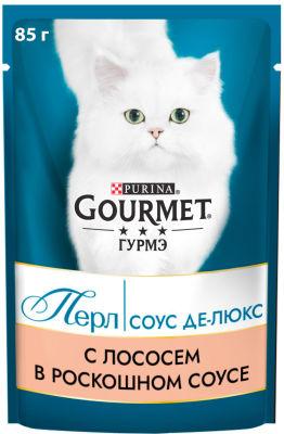 Корм для кошек Gourmet Перл Соус Де-Люкс с лососем в роскошном соусе 85г