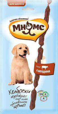 Лакомство для щенков Мням Мнямс мягкие колбаски с говядиной 30г