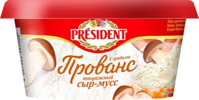 Сыр-мусс творожный President Прованс с грибами 60% 120г